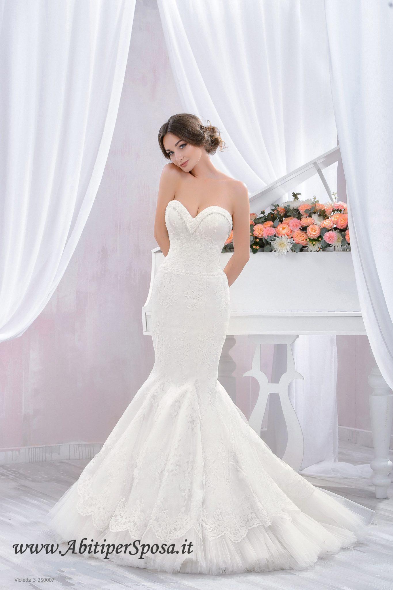 Abito da sposa a sirena in pizzo modello Violetta  e49106c3be3