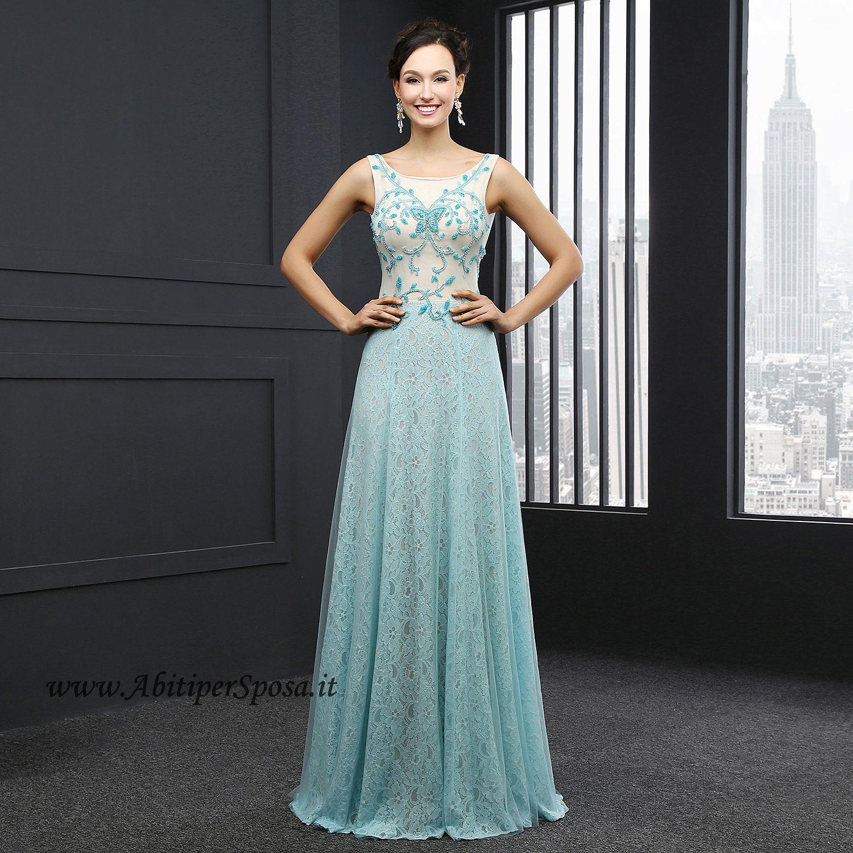 Vestiti Cerimonia Color Tiffany.Abito Lungo Da Cerimonia In Pizzo E Tulle Modello Tiffany